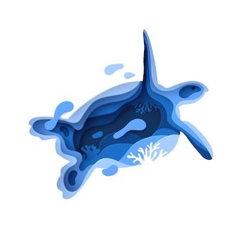 Концепция окружающей среды океана бумажного искусства подводная с силуэтом черепахи.