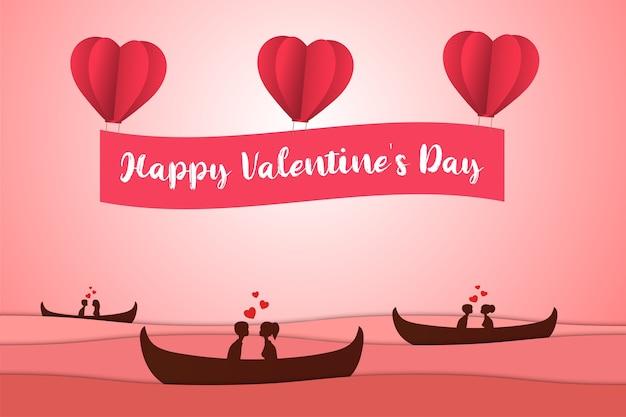 Paper art valentine day