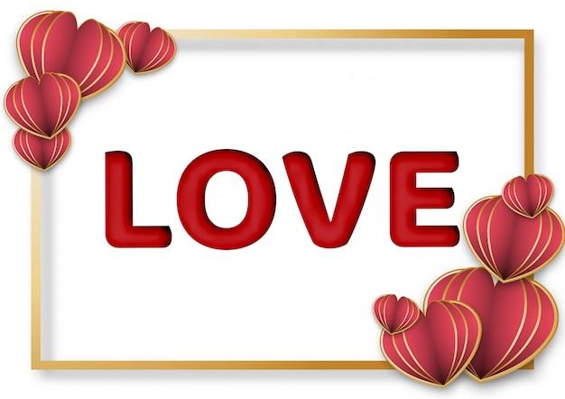 Paper art of valentine's day background