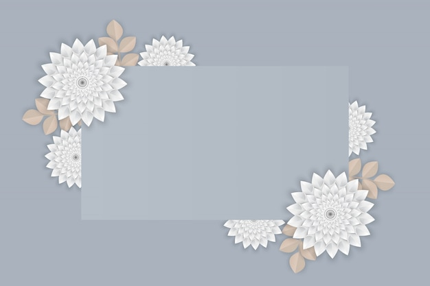 Paper art of white flower on  frame on gray background