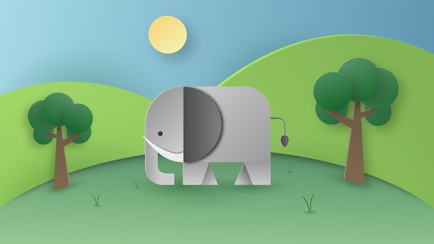 Paper art of wild elephant in the fores