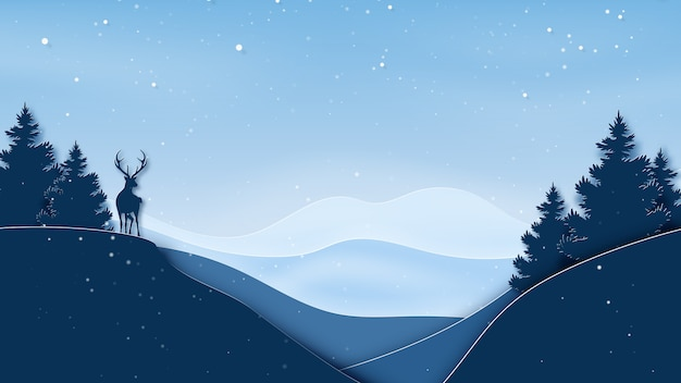 Paper art of winter season landscape background with deer, forest and mountains.