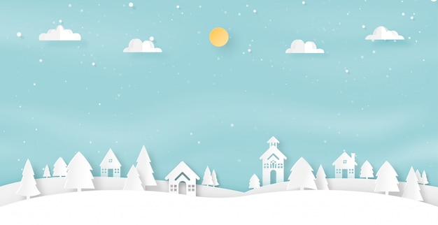 Paper art of winter season landscape and christmas background.