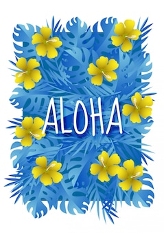 Paper art with aloha summer season template design vector