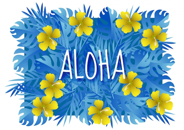 Paper art with aloha summer season template design vector