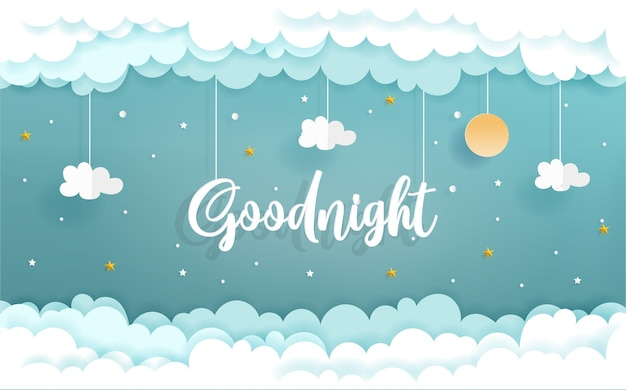 Paper art with goodnight concept with cloud and star