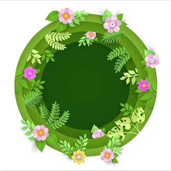 Paper art with plants and flowers in a circle in the spring
