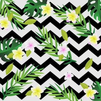 熱帯と夏の背景を持つ紙の芸術