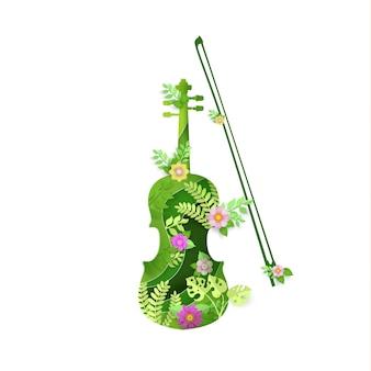Бумага искусство со скрипкой инструмент дизайна весной.