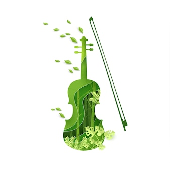 Paper art with violin instrument design in spring.