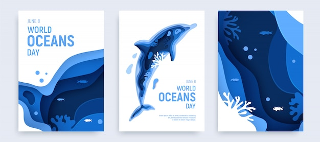Paper art world ocean day banner set with dolphin silhouette. underwater world page layout.
