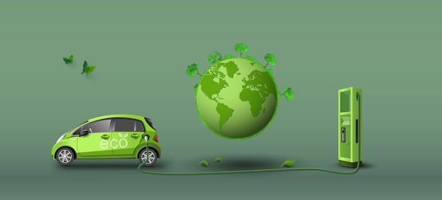 Концепция экологически чистых с эко автомобилей. paper art и стиль ремесла.