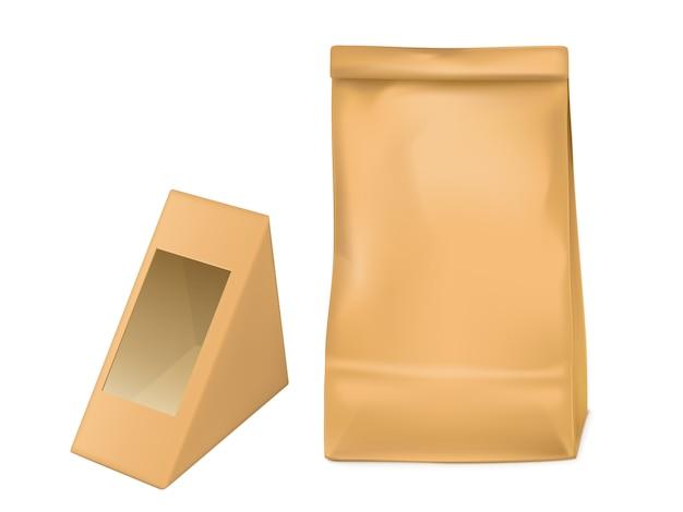サンドイッチ用の紙袋と三角形の包装箱