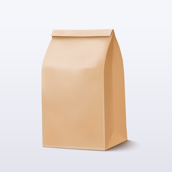 Paper bag. brown shopping bag. craft package.  illustration