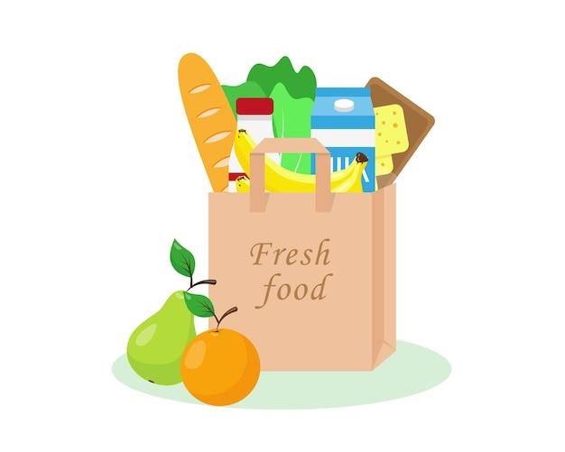 Paper bag full of fresh grocery fresh food in shopping bag vector illustration