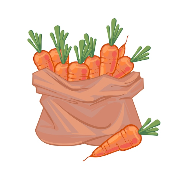 Бумажный пакет, полный сочной спелой оранжевой моркови. брезентовый мешок с морковью. органические овощи. рисованной иллюстрации, изолированные на белом фоне. иконы мешки с овощами.