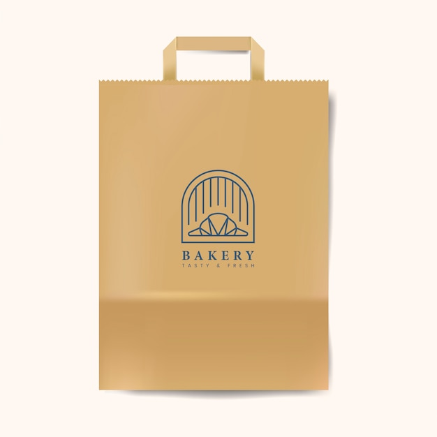 Paper bag mockup isolated vector