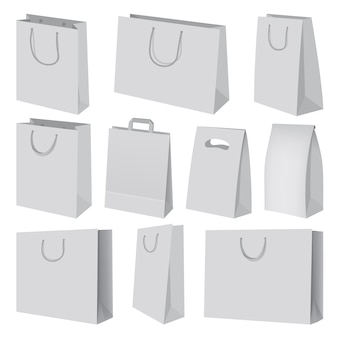 Paper bag mockup set. realistic illustration of 10 paper bag mockups for web