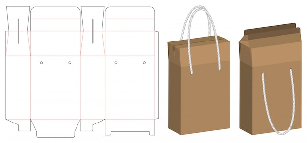 Paper bag packaging die-cut and 3d bag mockup