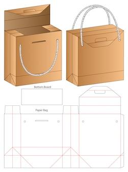 Paper bag packaging die cut template . 3d