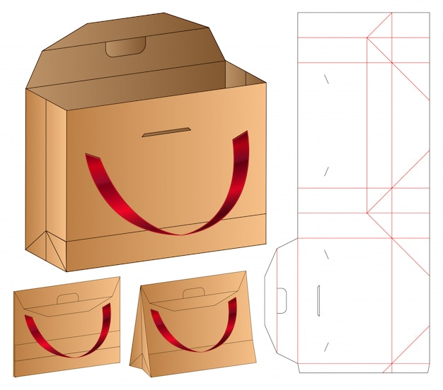 Paper bag packaging die cut template   3d