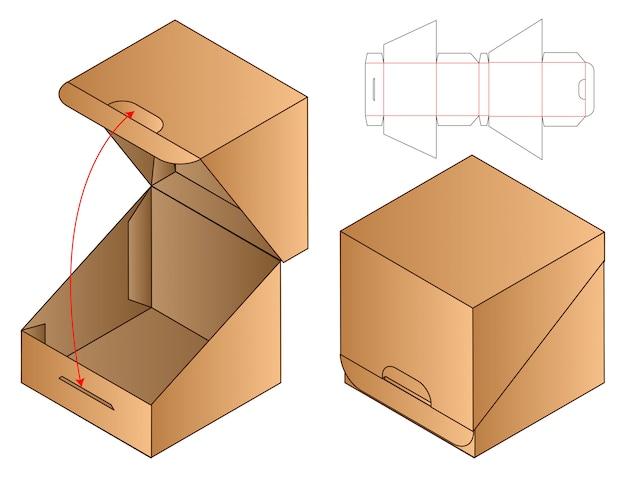 Paper bag packaging die cut template   3d