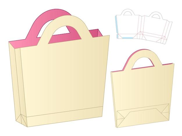 Paper bag packaging die cut template design