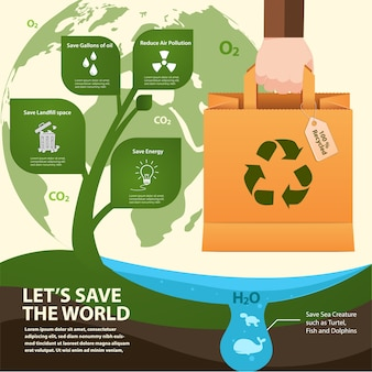 Paper bag reused for save the world infographic.