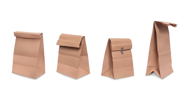 Paper bag, set of realistic illustrations brown paper grocery bags for meal