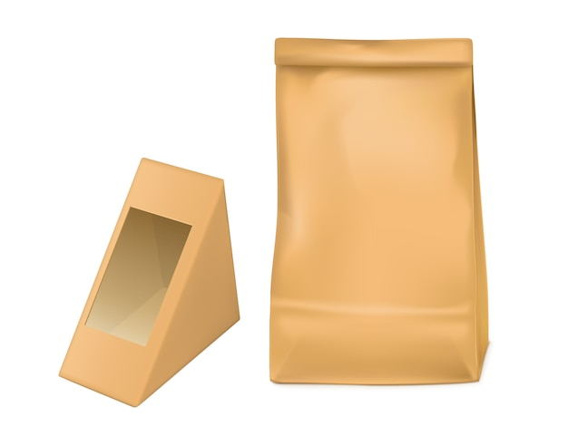 Paper bag and triangle packaging box for sandwich