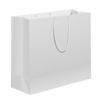 Бумажный пакет. белый нести подарочный шаблон с ручкой