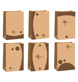 Paper bag with 6 minimalist designs in brown front view set of paper bags