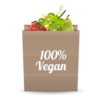 白い背景の正面図に分離されたさまざまな食料品の紙袋