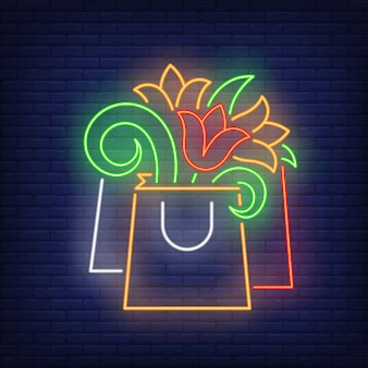 Paper bag with flowers neon sign