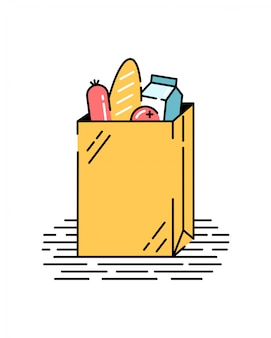 Paper bag with food. vegetables, bread, milk, salami. grocery shopping.  illustration in flat style.