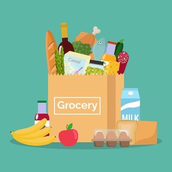 生鮮食品が入った紙袋。食料品店で買い物。平らな。
