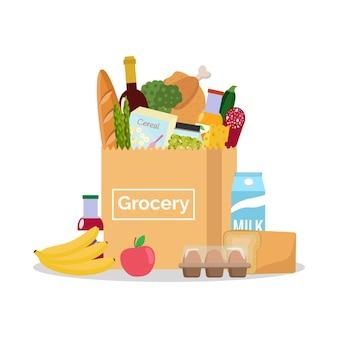 Бумажный пакет со свежими продуктами за покупками