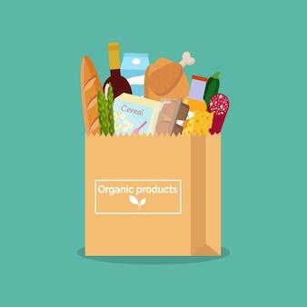 Бумажный пакет со свежими органическими продуктами покупки в продуктовом магазине