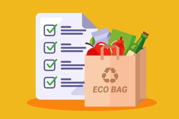 Бумажный пакет с продуктами. список покупок в магазине. плоская иллюстрация