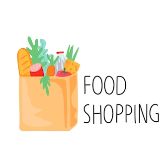 Paper bag with groceries sticker lettering food shopping cartoon style
