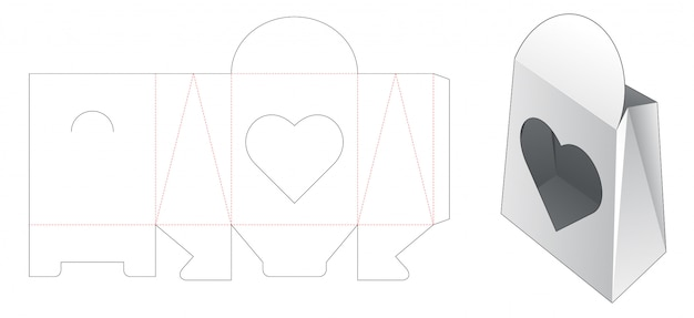 Paper bag with heart shaped window die cut template