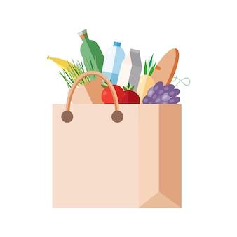 購入すると紙袋。生鮮食品、野菜、果物、乳製品の完全なパケット。食料品店、市場でのショッピングのコンセプト。カラフルなイラスト。