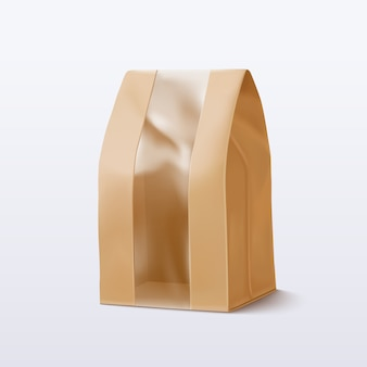 Paper bag with transparent window.  illustration