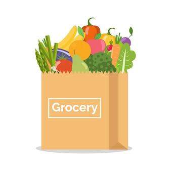 Бумажный пакет с овощами и фруктами.