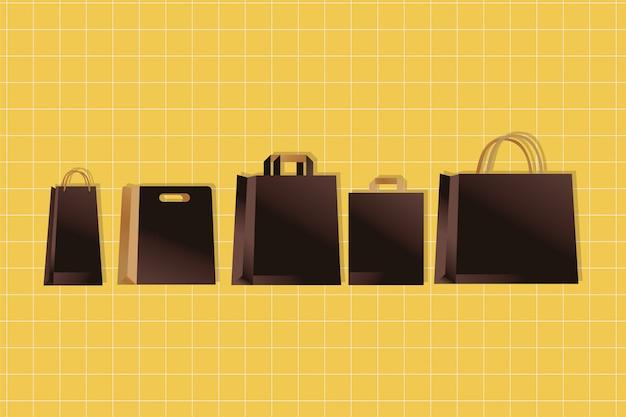 Бумажные пакеты коричневого цвета упаковка в градиентном стиле