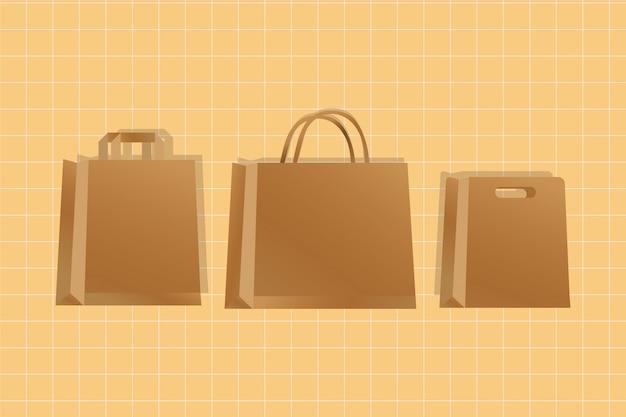 Бумажные пакеты коричневые упаковки в градиентном стиле
