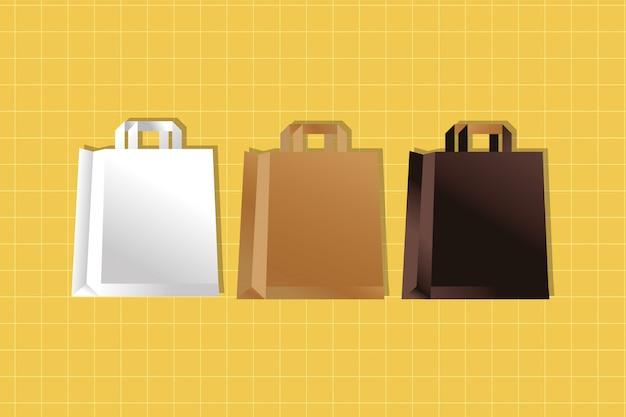 Бумажные пакеты цвета упаковки градиентный стиль