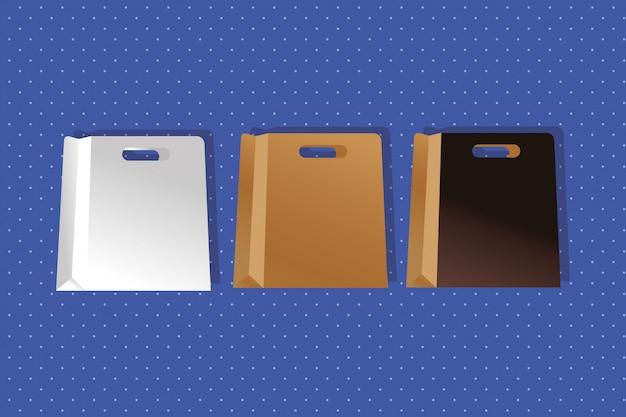 Бумажные пакеты цвета белый и коричневый упаковка в градиентном стиле