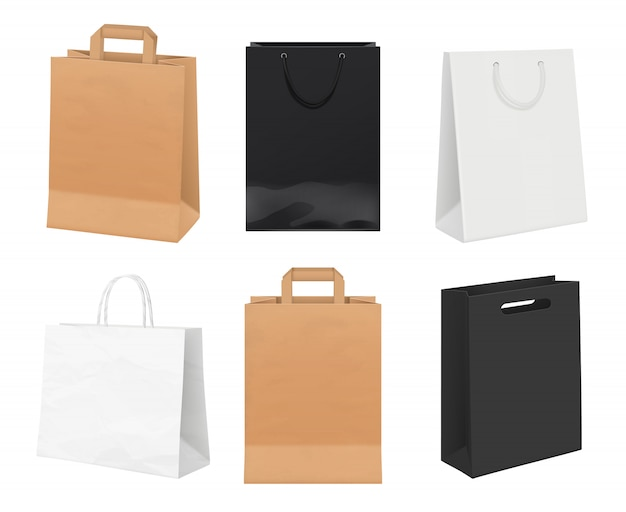 Paper bags empty. identity packages from white and kraft paper shopping bags realistic template