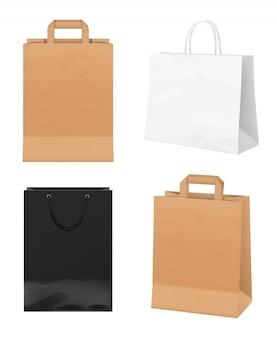 Бумажные пакеты. пустые пакеты для магазинов, белые, черные и крафт-бумага, мерчендайзинг, индивидуальные сумки, реалистичный макет